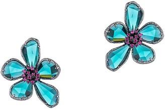 Eye Candy La Luxe Flower Silvertone & Crystal Earrings