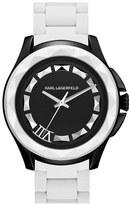Karl Lagerfeld '7' Beveled Bezel Silicone Bracelet Watch, 44mm White/ Black