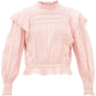 Etoile Isabel Marant Perla Ruffled Striped Cotton Blouse - Womens - Pink