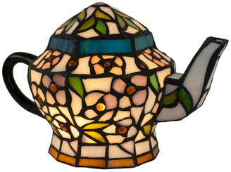 Lavish Home Teapot Lamp, Tiffany Style Stained Glass Light