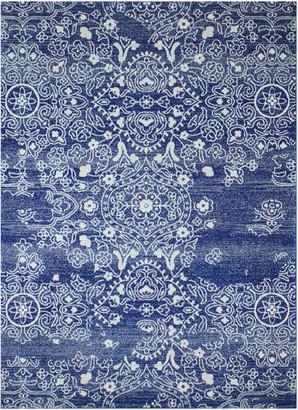 """Nell Bashian Area Rug, Dark Blue, 7'6""""x9'6"""""""