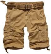 JEEPER Men's Nian Jeep Cotton Twill Multi Pocket Cargo Shorts(No Belt)