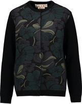 Marni Printed scuba-paneled wool-blend cardigan