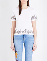 Sandro Lace-embellished cotton-jersey T-shirt