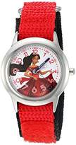 Disney Girl's 'Elena of Avalor' Quartz Stainless Steel and Nylon Watch, Color:Red (Model: W003033)