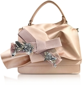 N°21 Nude Satin Micro Crossbody Bag w/Iconic Bow On Front and Silver Crystals