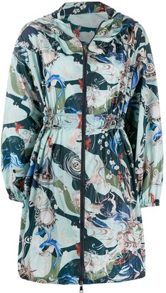 Moncler Patterned Cinched-Waist Raincoat