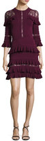 Elie Saab Ruffled Lace-Inset 3/4-Sleeve Dress, Cherry