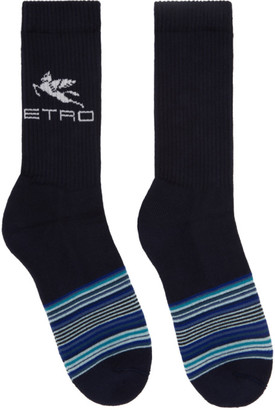 Etro Navy Striped Pegaso Socks