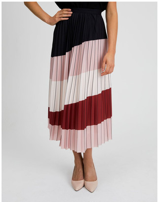 Basque Colour Blocked Pleated Skirt