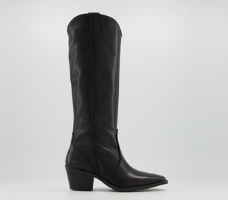 Office Kansas Western Knee Boots Black Leather