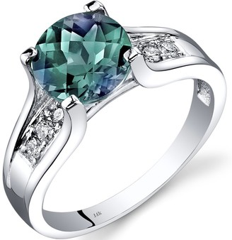Oravo 14k White Gold Alexandrite Diamond Cathedral Ring 2.25 Carat Size - 7