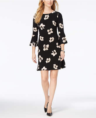 Tommy Hilfiger Printed Jersey Bell Sleeve A-line Dress