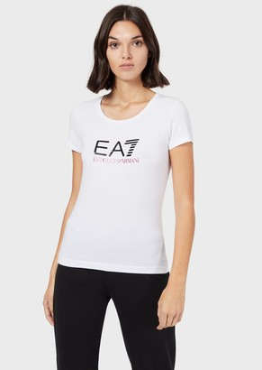 Ea7 Cotton Jersey T-Shirt With Logo