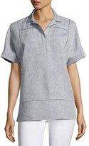 Lafayette 148 New York Amorie Short-Sleeve Yarn-Dyed Linen Top, Medium Blue, Plus Size