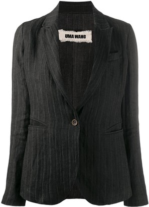 UMA WANG Striped Single-Breasted Linen Blazer