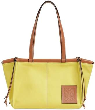 Loewe SM CUSHION CANVAS & LEATHER TOTE BAG