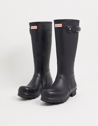 Hunter tall exploded logo boots in black