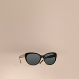 Burberry Gabardine Collection Oversize Round Frame Sunglasses