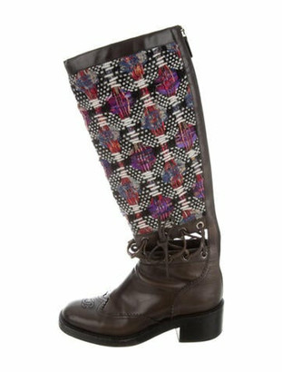Chanel Tweed Pattern Lace-Up Boots Black