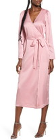 WAYF x Influencing in Color Dove Long Sleeve Wrap Midi Dress