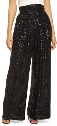 Eliza J Women's Sequin Flowy Pants