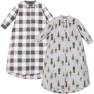 Hudson Baby Boys' Infant Sleeping Sacks Forest - Gray Buffalo Check & Forest Bear Wearable Blanket Set - Newborn