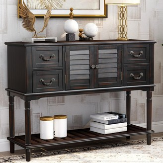Parrot Uncle Entryway Sofa Table with Shutter Doors and 4 Storage Drawers