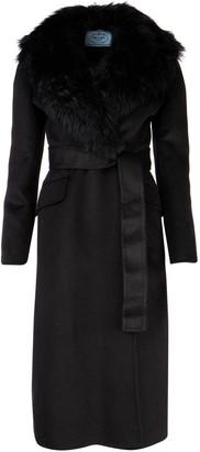 Prada Belted Fur Trimmed Coat