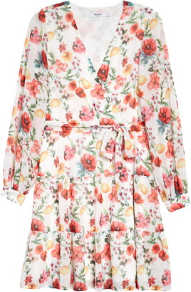 NA-KD Floral Long Sleeve Tiered Chiffon Minidress