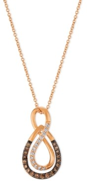 LeVian Le Vian Chocolatier Diamond Infinity Pendant Necklace (1/3 ct. t.w.) in 14k Rose Gold