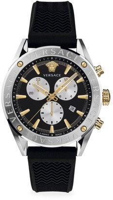 Versace V-Chrono Stainless Steel IP Yellow Gold Silicone Strap Watch