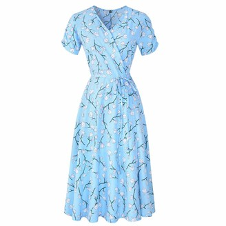 Younthone Ladies Party Dress Summer Short Sleeve Printed Beach Skirt Sexy V-Neck Ball Gown Loose Casual Swing Dress Women's Daily Dresses Yellow