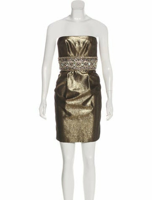 Marchesa Embellished Metallic Dress gold