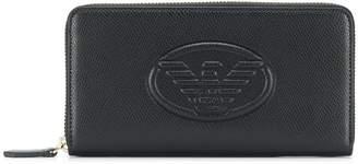 Emporio Armani logo embossed continental wallet