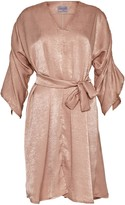 Cocoove Maxine Satin Dress With Ruffle Sleeve In Oyster