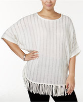NY Collection Plus Size Sequin-Striped Poncho Sweater
