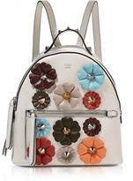 Fendi Dust Gray Nappa Leather Mini Backpack w/Flowers