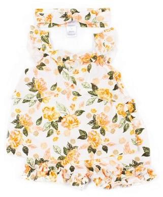 Little Lass Baby & Toddler Girl Lemon Print Tank Top, Ruffle Shorts & Headband, 3pc Outfit Set