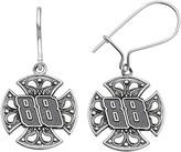 "Insignia Collection NASCAR Dale Earnhardt Jr. Stainless Steel ""88"" Maltese Cross Drop Earrings"