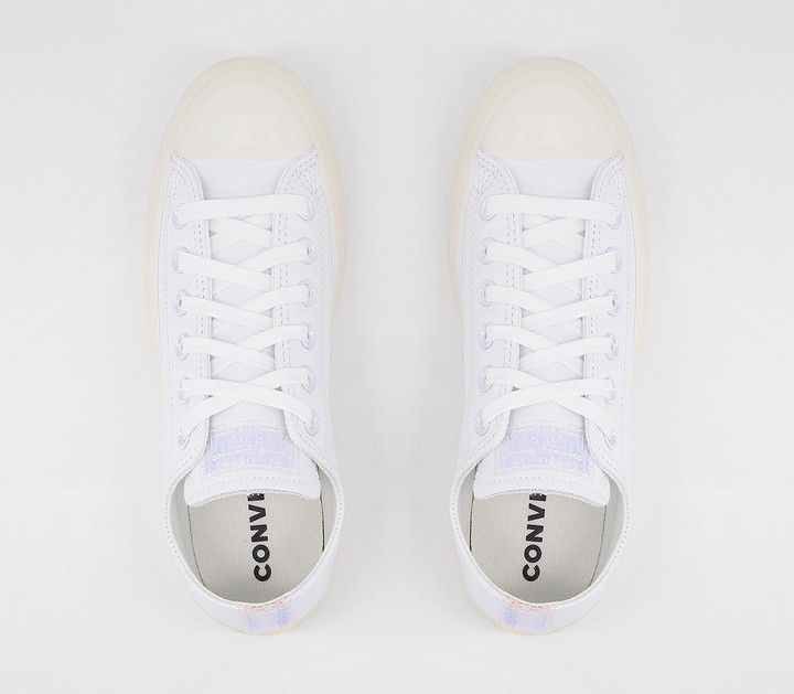 Thumbnail for your product : Converse All Star Low Trainers White Leather Iridescent Exclusive