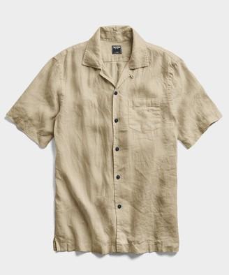 Todd Snyder Short Linen Camp Collar Shirt in Sand Dune