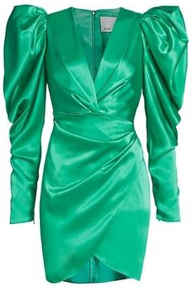 Acler Irwin Puff-Sleeve Satin Mini Dress