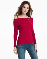 White House Black Market Long Sleeve Cold-Shoulder Lace Up Ribbed Sweater