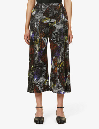 Pleats Please Issey Miyake Andante cropped wide-leg mid-rise woven trousers