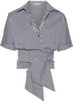 Michael Kors Cropped Gingham Cotton-blend Poplin Wrap Top - Navy