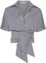 Michael Kors Cropped Gingham Cotton-blend Poplin Wrap Top - Navy