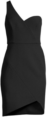 BCBGMAXAZRIA One-Shoulder Stretch Crepe Wrap Dress