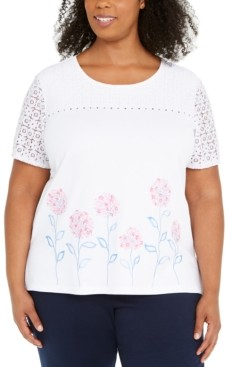 Alfred Dunner Plus Size Embroidered Beaded Lace-Sleeve Top
