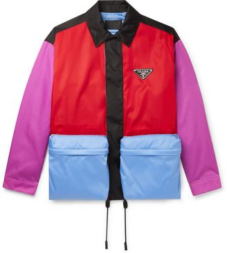 Prada Oversized Logo-Appliqued Colour-Block Nylon Blouson Jacket